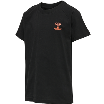 hmlACTION COTTON T-SHIRT KIDS, BLACK/FIESTA, packshot