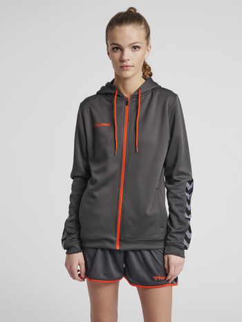 hmlAUTHENTIC POLY ZIP HOODIE WOMAN, ASPHALT, model