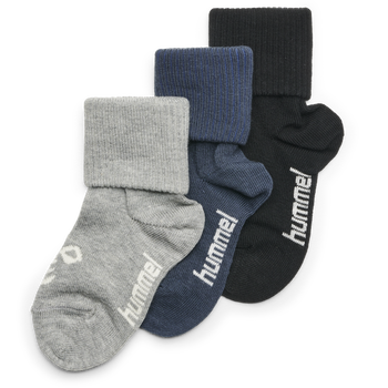 SORA 3-PACK SOCK, BLACK/GREY MELANGE/BLUE NIGHTS, packshot