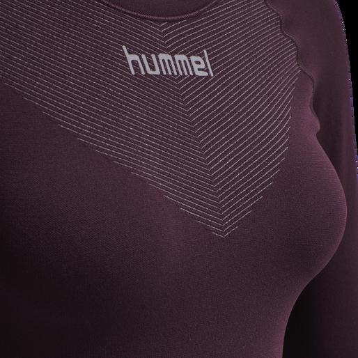 HUMMEL FIRST SEAMLESS JERSEY L/S WOMAN, BORDEUAX/LIGHT GREY, packshot