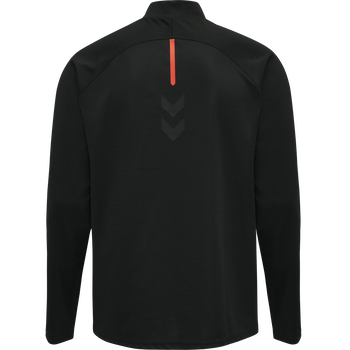 hmlACTION HALF ZIP SWEAT, BLACK/FIESTA, packshot