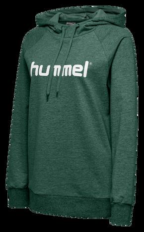 HUMMEL GO COTTON LOGO HOODIE WOMAN, EVERGREEN, packshot