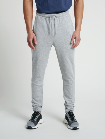 hmlISAM TAPERED PANTS, GREY MELANGE, model