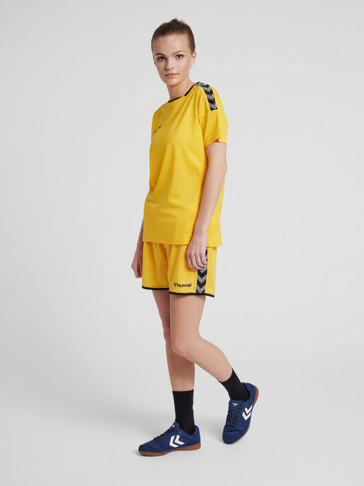 hmlAUTHENTIC POLY SHORTS WOMAN, SPORTS YELLOW/BLACK, model