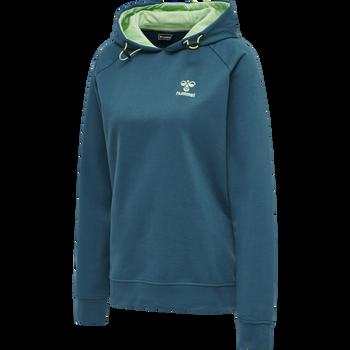 hmlACTION COTTON HOODIE WOMAN, BLUE CORAL/GREEN ASH, packshot