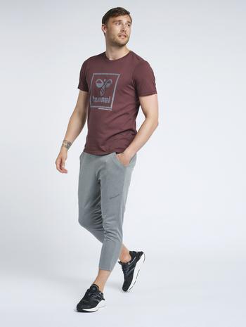 hmlNALO TAPERED 7/8 PANTS, DARK GREY MELANGE, model
