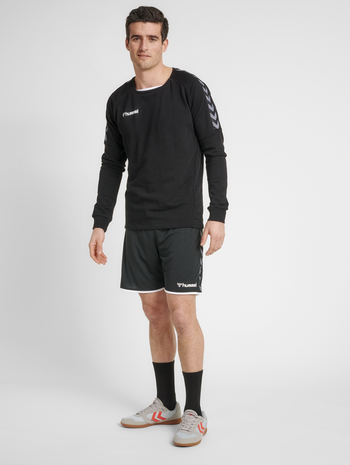 hmlAUTHENTIC TRAINING SWEAT, BLACK/WHITE, model