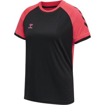hmlACTION JERSEY S/S WOMAN, BLACK/DIVA PINK, packshot