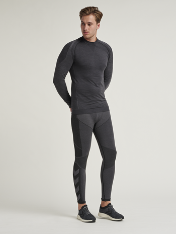 hmlCOOPER SEAMLESS TIGHTS , BLACK MELANGE, model