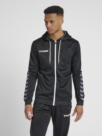 hmlAUTHENTIC POLY ZIP HOODIE, BLACK/WHITE, model