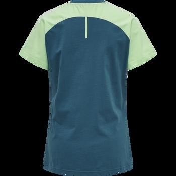hmlACTION COTTON T-SHIRT WOMAN, BLUE CORAL/GREEN ASH, packshot