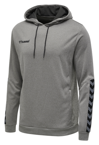hmlAUTHENTIC KIDS POLY HOODIE, GREY MELANGE, packshot