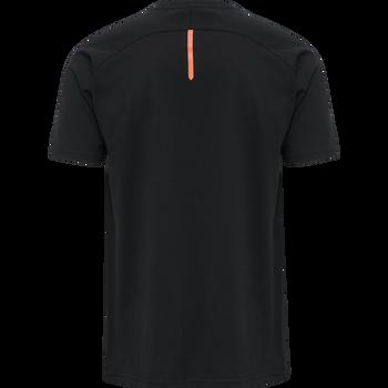 hmlACTION COTTON T-SHIRT, BLACK/FIESTA, packshot