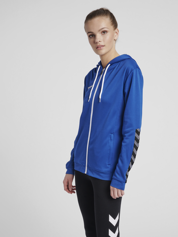 hmlAUTHENTIC POLY ZIP HOODIE WOMAN, TRUE BLUE, model