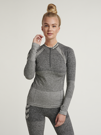 hmlDAWN SEAMLESS HALF ZIP, MAGNET MELANGE, model
