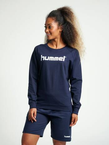 HUMMEL GO COTTON LOGO SWEATSHIRT WOMAN, MARINE, model