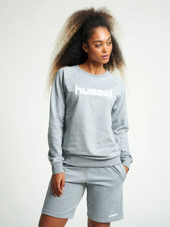 HUMMEL GO COTTON LOGO SWEATSHIRT WOMAN, GREY MELANGE, model