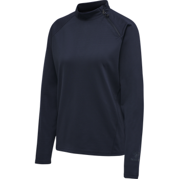 hmlACTION HALF ZIP SWEAT WOMAN, DARK SAPPHIRE/FIESTA, packshot